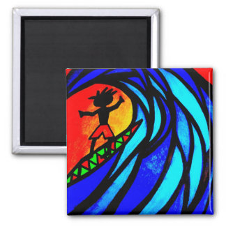Lil Surfer Dude at Pipeline 2 Inch Square Magnet