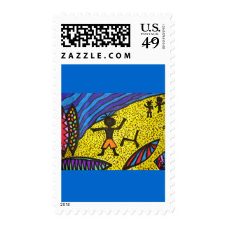 Lil' Surfer Dude at Work Postage Stamps