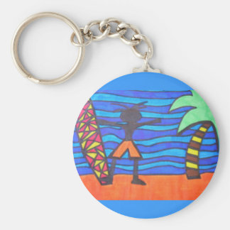 Lil Surfer Dude Hanging Out Basic Round Button Keychain