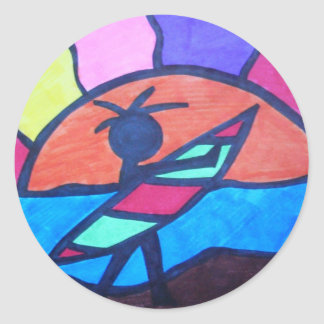 Lil' Surfer Dude - Setting Sun Classic Round Sticker