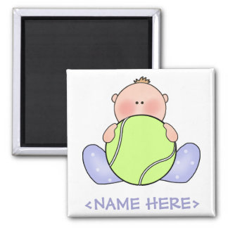 Lil Tennis Baby Boy 2 Inch Square Magnet