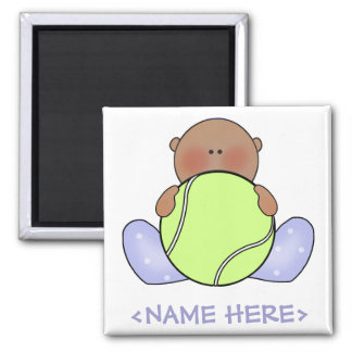 Lil Tennis Baby Boy - Ethnic 2 Inch Square Magnet
