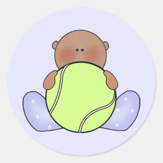 Lil Tennis Baby Boy - Ethnic Classic Round Sticker