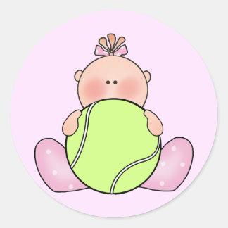 Lil Tennis Baby Girl Classic Round Sticker