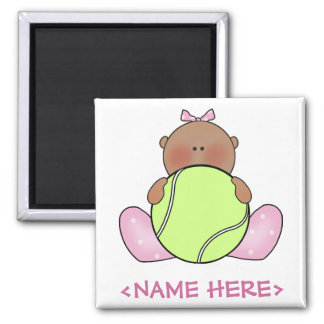 Lil Tennis Baby Girl - Ethnic 2 Inch Square Magnet