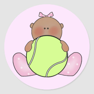 Lil Tennis Baby Girl - Ethnic Classic Round Sticker