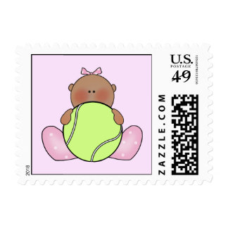 Lil Tennis Baby Girl - Ethnic Postage Stamp