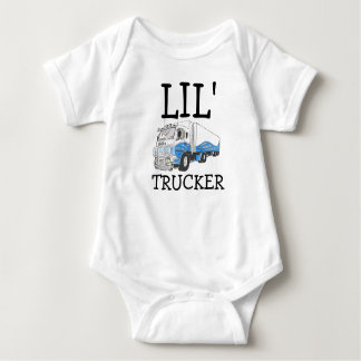 """Lil' Trucker"" pun cute big rig truck Baby Bodysuit"