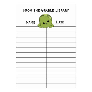 Lil Turtle Book Return Cards Large Business Cards (Pack Of 100)