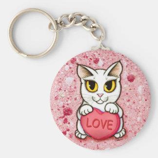 Lil Valentine White Cat Candy Heart Love Keychain