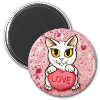 Lil Valentine White Cat Candy Heart Love Magnet
