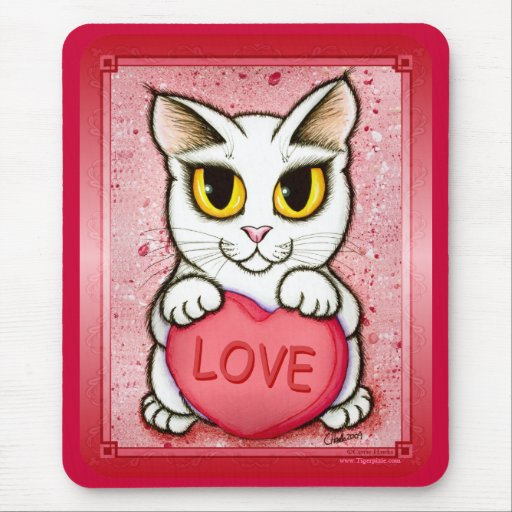 Lil Valentine White Cat Candy Heart Love Mousepad