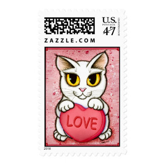 Lil Valentine White Cat Candy Heart Love Postage