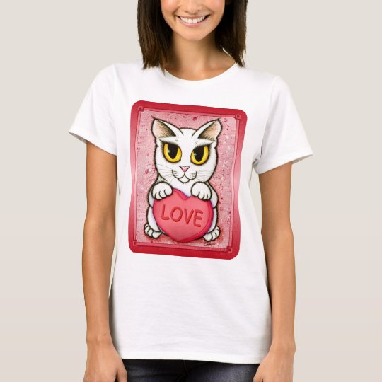 Lil Valentine White Cat Candy Heart Love T-Shirt