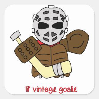 Lil' Vintage Hockey Goalie Square Sticker