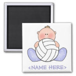 Lil Volleyball Baby Boy 2 Inch Square Magnet