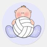Lil Volleyball Baby Boy Classic Round Sticker