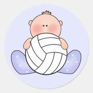 Lil Volleyball Baby Boy Round Sticker