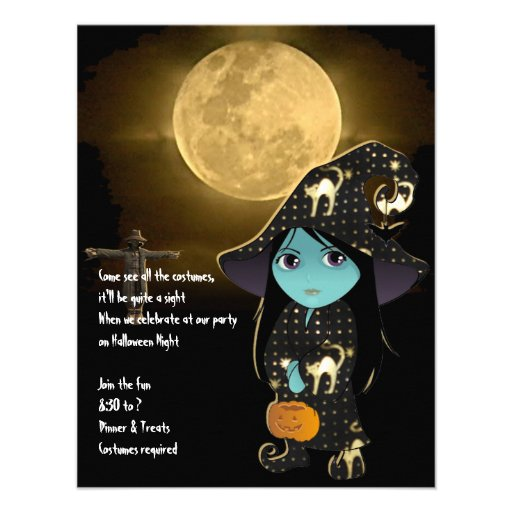 Lil' Witch in a Black and Gold Cat Robe Invitation