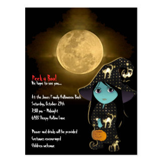 Lil' Witch in Black Gold Robe Halloween Invitation Post Card