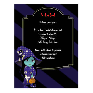 Lil' Witch in Blue Gold Robe Halloween Invitation Postcard