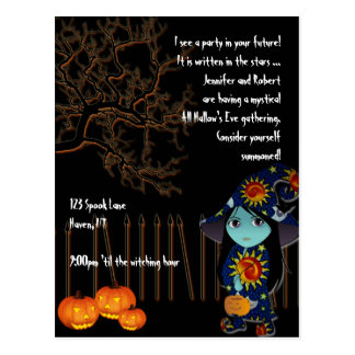 Lil' Witch in Celestial Gown Halloween Invitation Post Cards