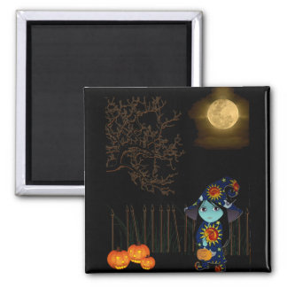 Lil' Witch in Celestial Gown Halloween 2 Inch Square Magnet
