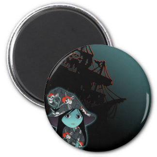 Lil' Witch in Pirate Costume 2 Inch Round Magnet