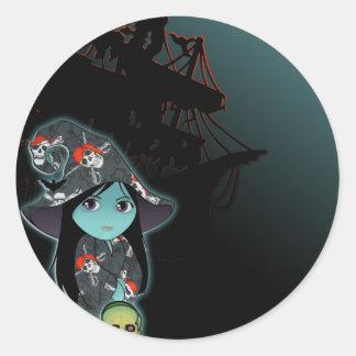Lil' Witch in Pirate Costume Classic Round Sticker