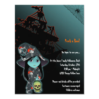 Lil' Witch in Pirate Skull Robe Halloween 4.25x5.5 Paper Invitation Card