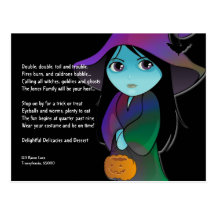 Lil' Witch in Rainbow Robe Halloween Invitation Postcards