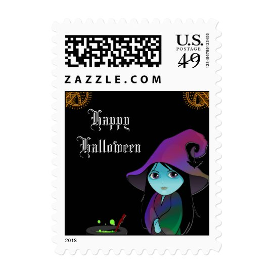 Lil' Witch in Rainbow Robe Halloween Postage