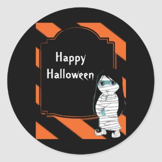 Lil' Witch the Halloween Mummy Classic Round Sticker