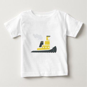Beach Themed Lil Yellow Tugboat Baby T-Shirt