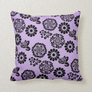 Lila/amortiguador de encaje púrpura y negro de la cojín