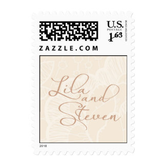 Lila and Steven cream and caramel monogram Postage