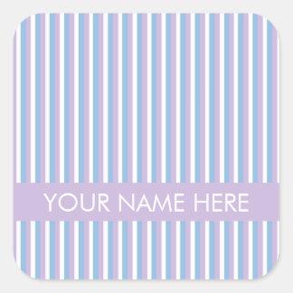 Lila blanca de las rayas de la lila azul pegatina cuadrada
