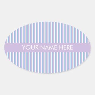 Lila blanca de las rayas de la lila azul pegatina ovalada