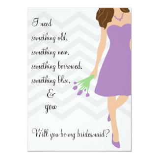 Lila Chevron púrpura usted será mi dama de honor Invitación 11,4 X 15,8 Cm