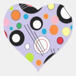 Lila colorida pegatina en forma de corazón