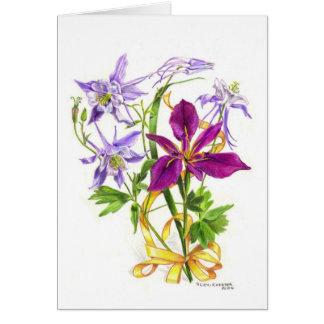 Lila Columbines e iris imberbe púrpura Tarjeta De Felicitación