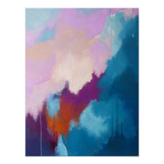 Lila con la pintura abstracta moderna de la aguama póster