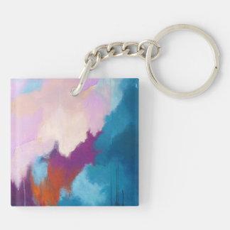 Lila con la pintura abstracta moderna de la llavero cuadrado acrílico a doble cara