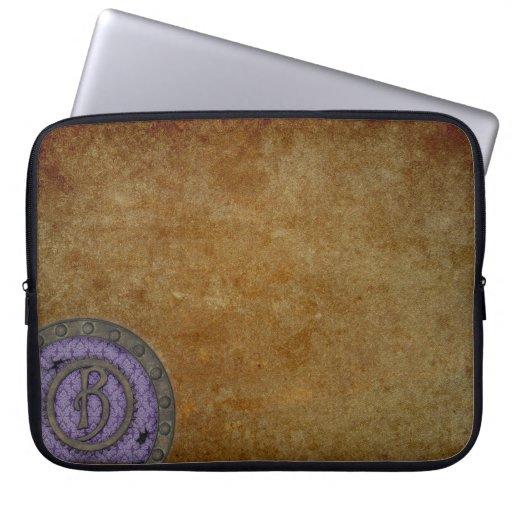 Lila con monograma del bolso de la electrónica de  fundas portátiles