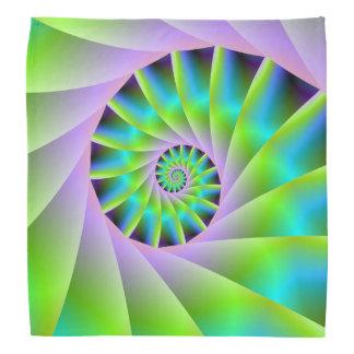 Lila de la turquesa y pañuelo espiral verde bandana