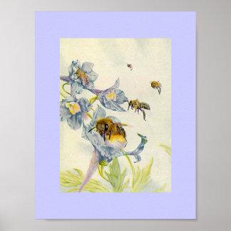 Lila de las abejas de la miel de la naturaleza y d póster