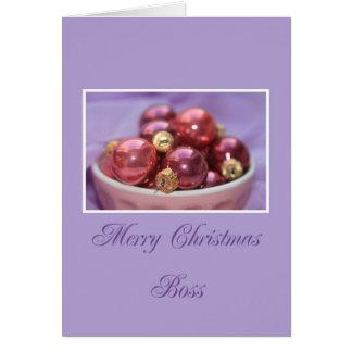 lila de las Felices Navidad del jefe y ornamentos  Tarjeta De Felicitación