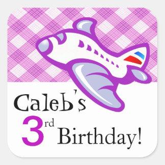 Lila del favor el | de la fiesta de cumpleaños del pegatina cuadrada