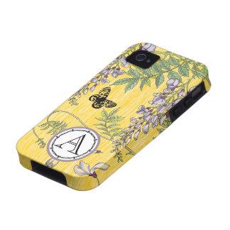 Lila del monograma e iphone amarillo de Wistria de iPhone 4/4S Carcasas
