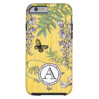 Lila del monograma e iphone amarillo de Wistria Funda De iPhone 6 Tough